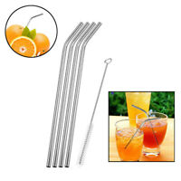 4 Pack Metal Straws with CLEANER Brush Reusable STAINLESS STEEL Drinking Straw