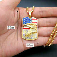 Iced CZ USA Flag American Eagle Patriotic Stainless Steel Dog Tag Pendant Chain