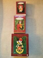 Vintage Lot of 3 Hallmark Heirloom Fireman Dalmatian Christmas Ornaments NIB