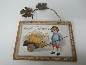 New Wooden Thanksgiving Sign With Metal Leaves Boy With Pumkin In Cart X45218