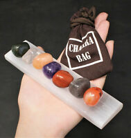 7 Chakra Tumbled Stone Set Carry Pouch Polished Selenite Charging Plate + Guide!