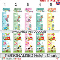Personalised Height Chart Owl Wall Sticker Girls Bedroom Childrens Nursery Decal