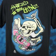 vintage 80s SKATE SKELETON SHRED CARTOON T-Shirt L/XL surf skateboard punk thin