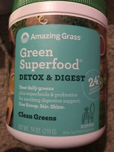 Amazing Grass GREEN SUPERFOOD Detox & Digest 30 Servings PROBIOTICS, ENZYMES