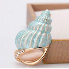 Rhinestone Metal Conch Shell Shape Gift Fashion Jewelry Brooch Pin