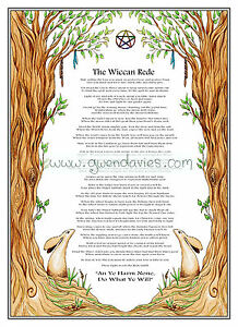 Wiccan Rede Full version Colour Poster A4 moongazing hare Pagan Adult colouring