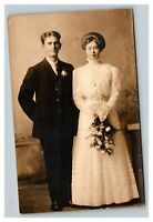 Vintage 1900's RPPC Postcard Finely Dressed Newlyweds Portrait