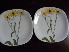 "2 Block FLORAL PORTRAITS Switzerland Bread Butter Plates""Black Eyed Susan #0073B"