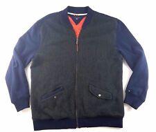 Tommy Hilfiger Size XXL Gray Wool Panel Blue Cotton Sleeve 1/4 Zip Long Sleeve