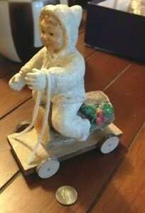 Bethany Lowe Christmas Snow Bunny Boy Riding Log on Cart