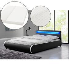 Polsterbett Doppelbett Kunstlederbett Bettgestell Set 140 x 200 cm mit LED Neu