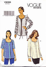 VOGUE SEWING PATTERN 9086 MISSES SZ 16-24 LOOSE-FITTING TOP/TUNIC - PLUS SIZES