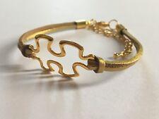 Metalllic ante de imitación Pulsera de oro con oro antiguo Autismo pieza del rompecabezas