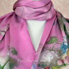 100% Silk Scarf Genuine Real Pure Mulberry Long Pink Floral Shawl Wrap Stole New