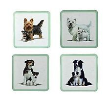 Set of 4 Macneil Dogs Coaster with Separate Pictures & Cork Backing 9x9cm