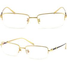 Leicht Herren Damen Brille Brillengestell Titan Halbrand Metall Fassung Gold