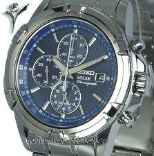 Seiko solaire chrono alarme cadran bleu boîtier en acier inoxydable et bracelet SSC141P1