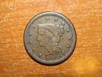 US 1854 Braided Hair Large Cent coin Fine nice