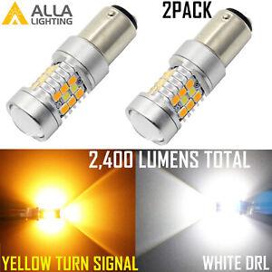 1157 Bi-Color Switch LED White Parking Light Bulb|Yellow Turn Signal Light Bulb