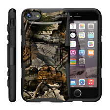 For Apple iPhone Case Hybrid Armor Holster Belt Clip Case Tree Leaves Camouflage