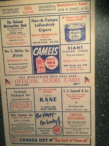 Vintage 1951 Washington Senators Scorecard vs Boston Red Sox