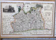 Old Victorian Colour Map of Surrey: 1840 Pigot: Historical, Antique: Reprint