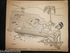 "CLIFFORD C LEWIS ""CLEW"" Original Pen & Ink Cartoon - African Natives Canoe #501"