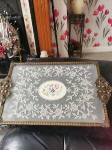 Fabulous  Petit Point Filigree Ormolu Vanity/ Dressing Table Tray