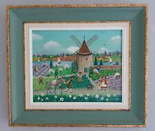"Charlotte Julian - "" Le moulin de Daudet "" - Art Naïf - Tableau original -"