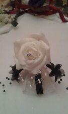 Button Holes Mother of Bride Bridegroom, Corsarge Ivory & Black White & Black