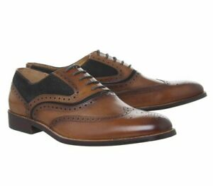 Office Infuse Brogue Tan Chocolate Suede + Leather Shoes UK Size 7 Mens BNIB