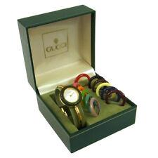 Authentic GUCCI Vintage Change Bezel Quartz Wristwatch Bangle Gold AK18235