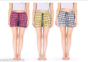 Ladies Woven Lounge Shorts Pyjama Bottoms HotPants Night Shorts