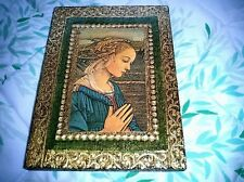 Gilt Gold Green Embossed Wood Italian Tole Florentine Madonna Ornament Picture