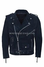 BRANDO Mens Leather Jacket Navy Blue Suede Classic Style PERFECTO Jacket MBF