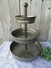 GALVANIZED 3- TIER SERVING TRAY DISPLAY STAND ~ Industrial Urban Farmhouse ~ NEW