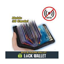 Lock Wallet Slim RFID Blocking Zipper 36 Credit Bank ID Business Card Holder