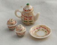 Vtg Dollhouse Miniature Asian Style Porcelain Teacup Tea Pot Set Artisan HP