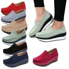 7 цветов женские лианы каблук комфорта скольжения на мокасины замши ткани туфли-лодочки D