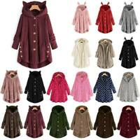 Womens Winter Warm Fleece Hoodie Hooded Coat Comfy Plain Long Jackets Plus Size