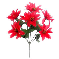 6 WHOLESALE CHRISTMAS POINSETTIA BUNCHES SILK RED WITH GOLD CENTER 7 HEADS CRAFT