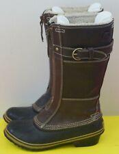 SOREL Dark Brown Leather FANCY TALL NL2021-242 Winter BOOTS Size 8 Waterproof