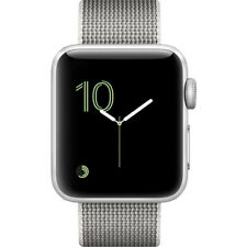 NEW APPLE WATCH SERIES 2 38MM GPS SILVER ALUMINUM CASE PEARL WOVEN NYLON BAND