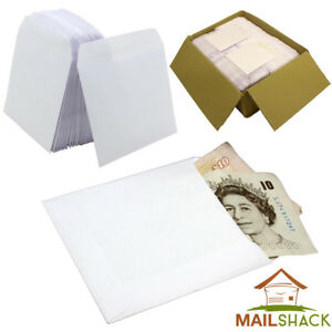 PREMIUM Small Plain White Gummed Envelopes 102 x 108mm Wages, School, Seeds