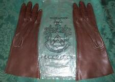 "Vintage Peck &  Peck Made in Italy Dark Brown 10-1/2"" Kid Gloves - Size 6-1/2"