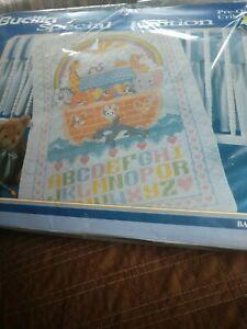 Rare Bucilla 64003 Quilted Crib Cover Blanket Noah's Ark Cross Stitch