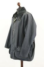 BARBOUR A155 BEAUFORT Waxed Cotton Jacket Coat Navy Tartan Lining C 46 / 117 cm