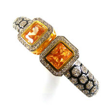 CITRINE & CZ Gemstone High Gold Plated Handmade Designer Cuff Bangle Bracelet