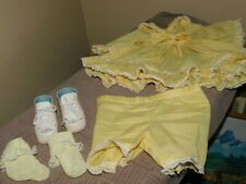 Yellow Handmade Baby Dress w/ Bloomers and Shoes Snap Closures
