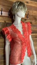 Vintage Red Size Small Chiffon and Lace Bed Jacket #11100